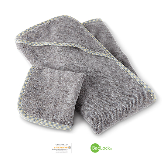 Baby Hooded Towel Set, graphite with gingham trim