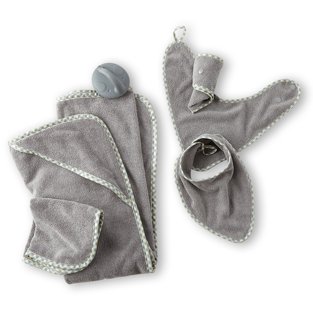 Baby Bundle – Baby Bibs Set, Baby's Bath Brush, Baby Hooded Towel Set