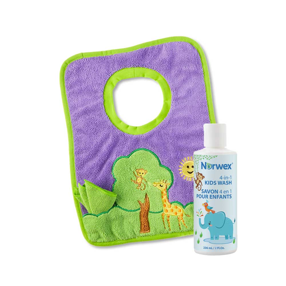 Toddler Bib and Cloth, Tree and 4-in-1 Kids Wash Sample Size